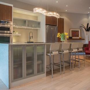Idee per una cucina parallela minimal di medie dimensioni con lavello sottopiano, ante lisce, ante in legno scuro, top in vetro riciclato, elettrodomestici in acciaio inossidabile, parquet chiaro e isola