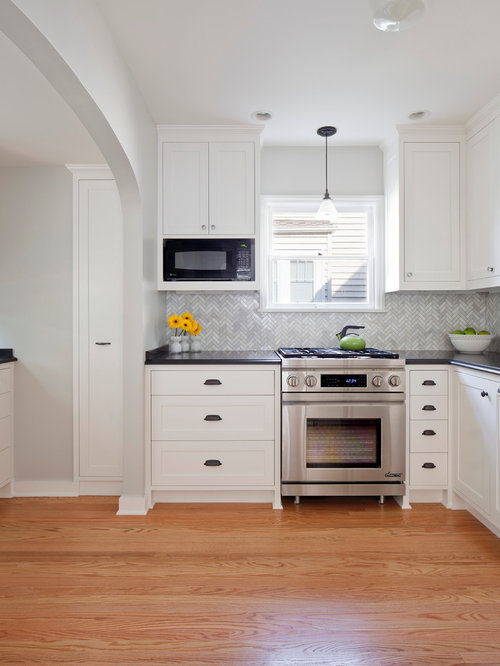 Marble Herringbone Backsplash Home Design Ideas, Pictures, Remodel and Decor