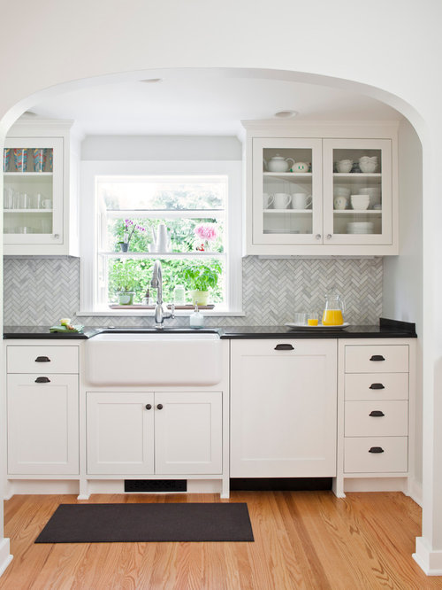 marble herringbone backsplash houzz