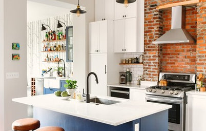 Kitchen Tour: Industrial Style in White, Blue and Brick