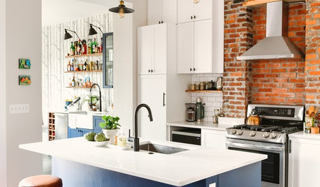 Kitchen of the Week: Industrial Style in White, Blue and Brick