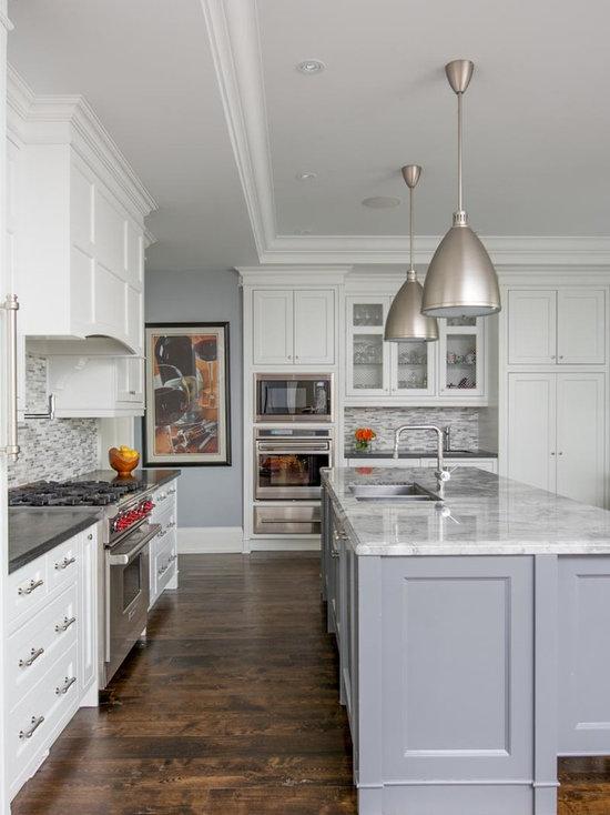 Grey And White Kitchen With Island grey island   houzz