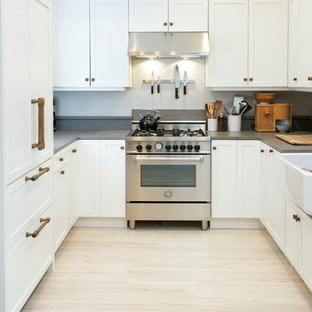 Inspiration for a mid-sized scandinavian u-shaped light wood floor enclosed kitchen remodel in Chicago with a farmhouse sink, shaker cabinets, white cabinets, quartz countertops, gray backsplash, stainless steel appliances and no island