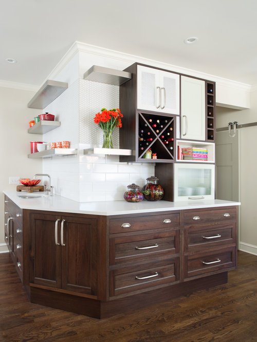 Kitchen Backsplash Dark Wood Cabinets dark cabinets white backsplash | houzz