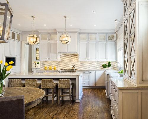 dark wood floors in kitchen. Transitional eat in kitchen designs  Example of a transitional u shaped dark wood Dark Wood Kitchen Floor Houzz