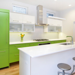 Contemporary kitchen photos - Example of a trendy galley kitchen design in Chicago with an undermount sink, flat-panel cabinets, green cabinets, white backsplash, glass sheet backsplash and paneled appliances