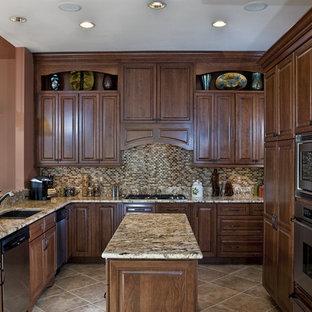 ワシントンD.C.の中くらいのトラディショナルスタイルのおしゃれなキッチン (シルバーの調理設備、御影石カウンター、アンダーカウンターシンク、レイズドパネル扉のキャビネット、中間色木目調キャビネット、マルチカラーのキッチンパネル、モザイクタイルのキッチンパネル、セラミックタイルの床) の写真