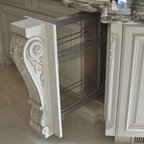 Upper Cabinet Hand Carved Glass Mullion Door Traditional