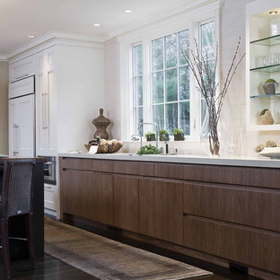 Design ideas for a traditional kitchen in Boston with open cabinets, quartz benchtops and panelled appliances.