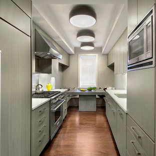 Small trendy galley medium tone wood floor enclosed kitchen photo in New York with flat-panel cabinets, gray cabinets, stainless steel appliances, an undermount sink, metallic backsplash and no island