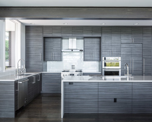 inspiration for a modern galley kitchen remodel in seattle with an undermount sink flat
