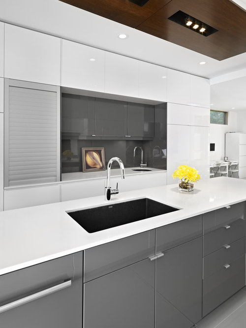 Ikea gloss grey cabinets home design ideas pictures for Gray and white kitchen decor