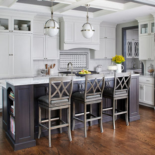 Traditional kitchen designs - Example of a classic l-shaped dark wood floor kitchen design in Chicago with shaker cabinets, white cabinets, white backsplash, stainless steel appliances and an island