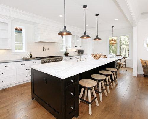 Black And White Kitchen With Island black kitchen island | houzz