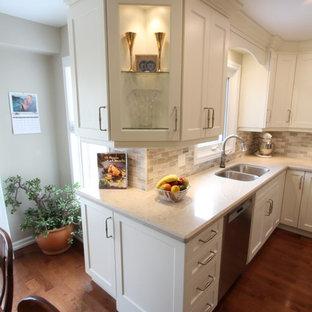トロントの中サイズのコンテンポラリースタイルのおしゃれなキッチン (アンダーカウンターシンク、落し込みパネル扉のキャビネット、白いキャビネット、クオーツストーンカウンター、グレーのキッチンパネル、石タイルのキッチンパネル、シルバーの調理設備の、濃色無垢フローリング、アイランドなし、赤い床、白いキッチンカウンター) の写真