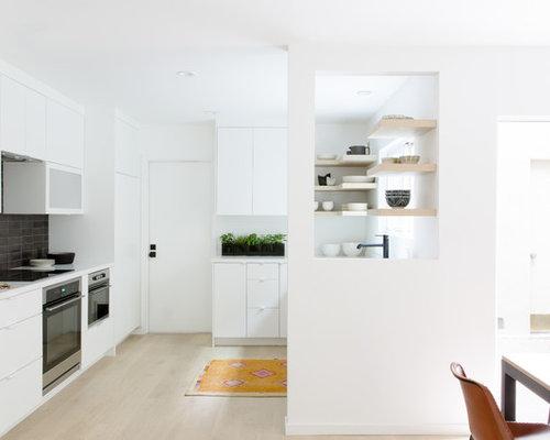Mid Sized Scandinavian Open Concept Kitchen Designs   Mid Sized  Scandinavian L Shaped