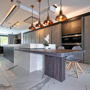 Light and Dark Concrete Finish Kitchen