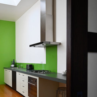 Mid-sized contemporary eat-in kitchen pictures - Inspiration for a mid-sized contemporary single-wall light wood floor and beige floor eat-in kitchen remodel in Melbourne with a double-bowl sink, raised-panel cabinets, beige cabinets, laminate countertops, green backsplash, glass sheet backsplash, stainless steel appliances, no island and green countertops