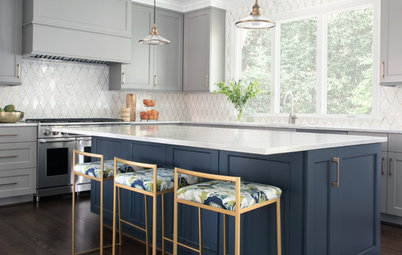 Thoughtful Style and Storage in a Gray-and-Blue Kitchen