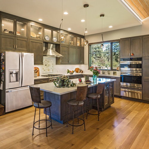 Rustic kitchen appliance  Inspiration for a rustic l shaped medium tone wood floor and 11 Best Kitchen Ideas Decoration Pictures Houzz