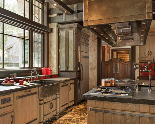Rustic Kitchen With Red Backsplash Design Ideas & Remodel Pictures