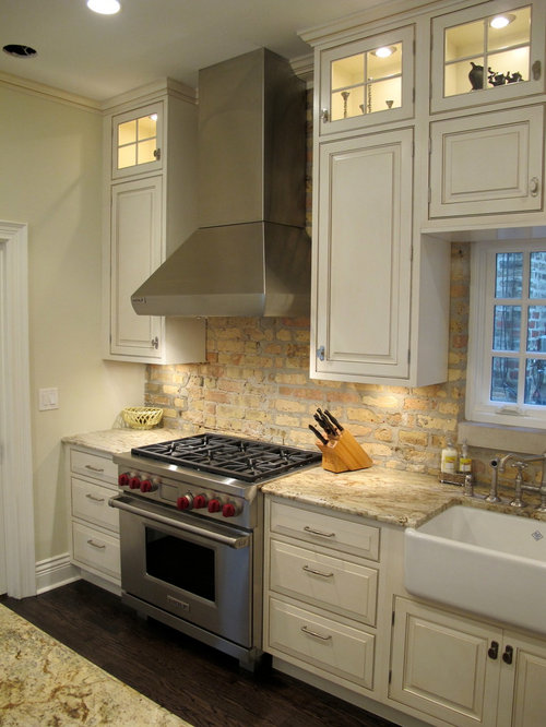 brick veneer backsplash houzz