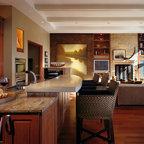 Kitchen Remodel, white cabinets, tile backsplash, undercabinet lighting, island - Traditional ...