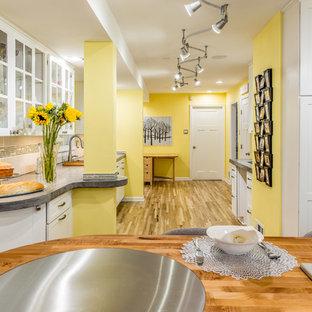 ワシントンD.C.の大きいコンテンポラリースタイルのおしゃれなキッチン (アンダーカウンターシンク、フラットパネル扉のキャビネット、白いキャビネット、コンクリートカウンター、メタリックのキッチンパネル、ガラスタイルのキッチンパネル、シルバーの調理設備、無垢フローリング) の写真