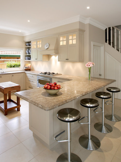 Beige kitchen cabinet houzz for Beige kitchen designs