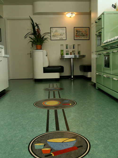 Retro linoleum houzz - Retro flooring kitchen ...