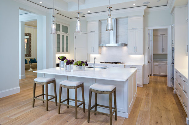 Transitional Kitchen by Legno Bastone Wide Plank Flooring