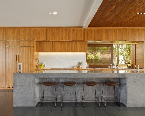 Concrete kitchen houzz for Concrete kitchen cabinets designs