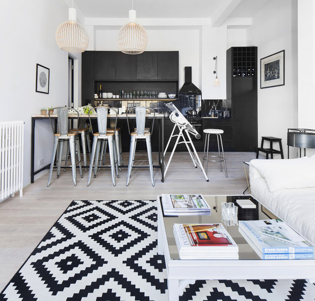 houzz tour black white and scandinavian industrial all over