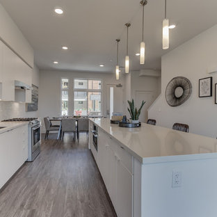 Open concept kitchen photos - Open concept kitchen - single-wall light wood floor and gray floor open concept kitchen idea in San Francisco with flat-panel cabinets, white cabinets, white backsplash, stainless steel appliances and an island