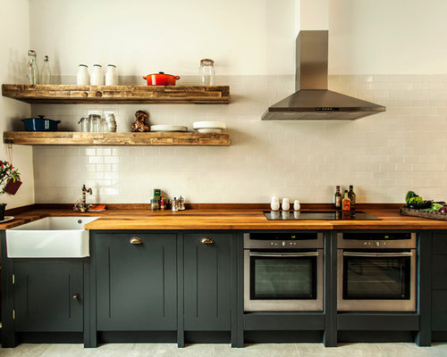 inspiration for an industrial kitchen remodel in london with wood countertops - Loft Kitchen Ideas