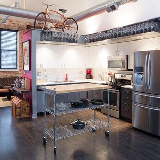 シカゴの小さいインダストリアルスタイルのおしゃれなキッチン (フラットパネル扉のキャビネット、グレーのキャビネット、白いキッチンパネル、シルバーの調理設備、濃色無垢フローリング、ダブルシンク) の写真