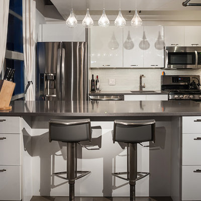 Inspiration for a contemporary single-wall kitchen remodel in Vancouver