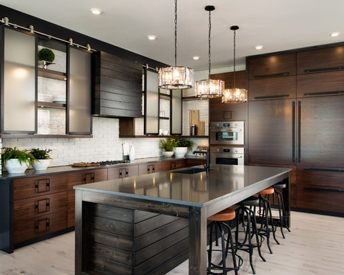 Industrial kitchen designs  l shaped light wood floor and beige idea 25 Best Kitchen Ideas Decoration Pictures Houzz