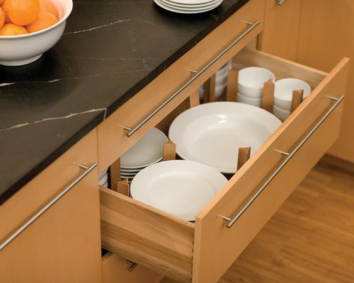 Plate drawer ideas pictures remodel and decor Handleless kitchen drawers design