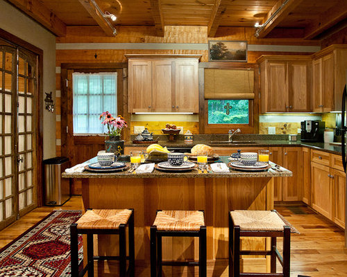 Ordinaire Open Concept Kitchen   Mid Sized Rustic L Shaped Medium Tone Wood Floor Open