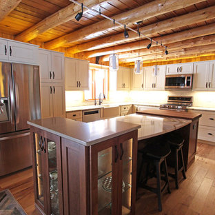 Log Cabin Rustic White Kitchen Cabinets with Granite and Wood Countertops