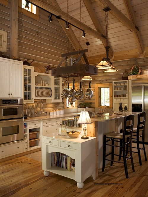 Log homes kitchens houzz for Kitchen ideas for log homes