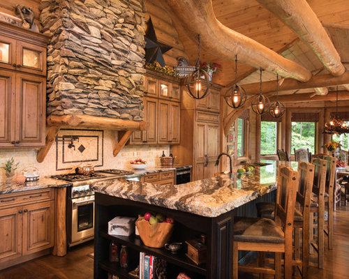 ideas para cocinas rsticas con salpicadero de azulejos de piedra