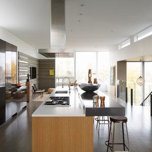 Esempio di una cucina moderna con lavello sottopiano, ante lisce e elettrodomestici in acciaio inossidabile