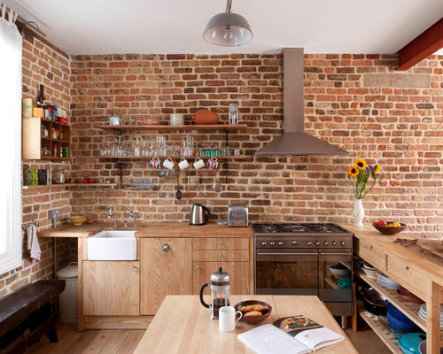 Brick wall kitchen home design ideas pictures remodel for Kitchen colors with white cabinets with sesame street wall art
