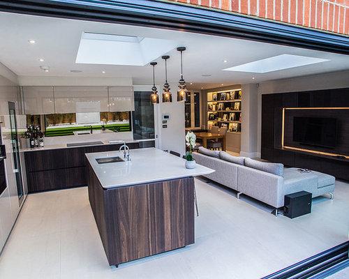 cuisine avec un lectrom nager encastrable et une cr dence en carreau de miroir photos et. Black Bedroom Furniture Sets. Home Design Ideas