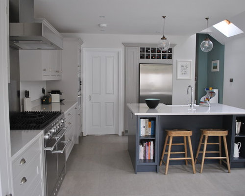 Beau This Is An Example Of A Medium Sized Contemporary Single Wall Kitchen In  London With