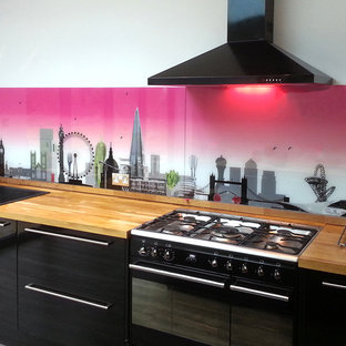 London skyline with a twist and hint of sexy pink printed glass splashback