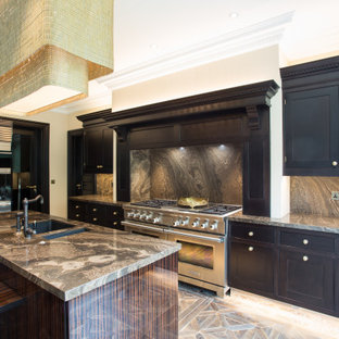 Inspiration for a large classic l-shaped kitchen/diner in London with a submerged sink, marble worktops, brown splashback, marble splashback, stainless steel appliances, medium hardwood flooring, an island, brown floors, brown worktops, shaker cabinets and black cabinets.