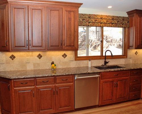 Tone Wood Cabinets, Granite Countertops and Soapstone Countertops